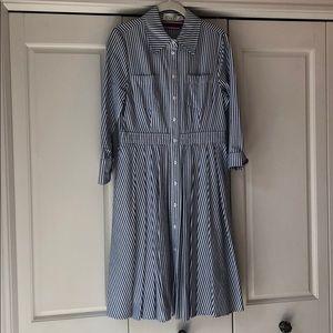 Striped waisted shirt dress.
